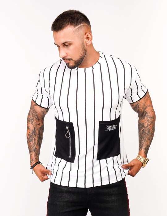 T-Shirt BROOKLYN Stripes BW Edition White